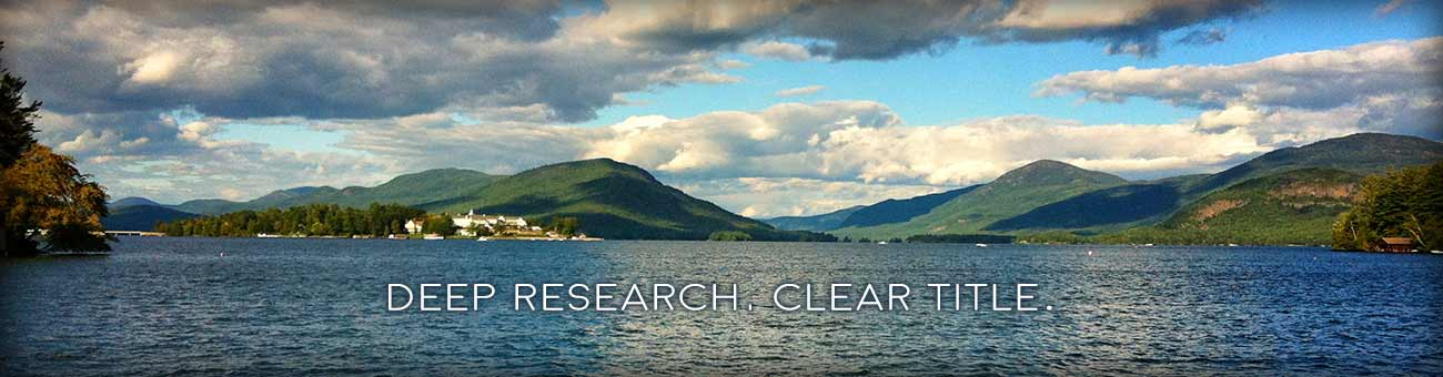 Photo of Lake George with tagline Deep Research. Clear Title.